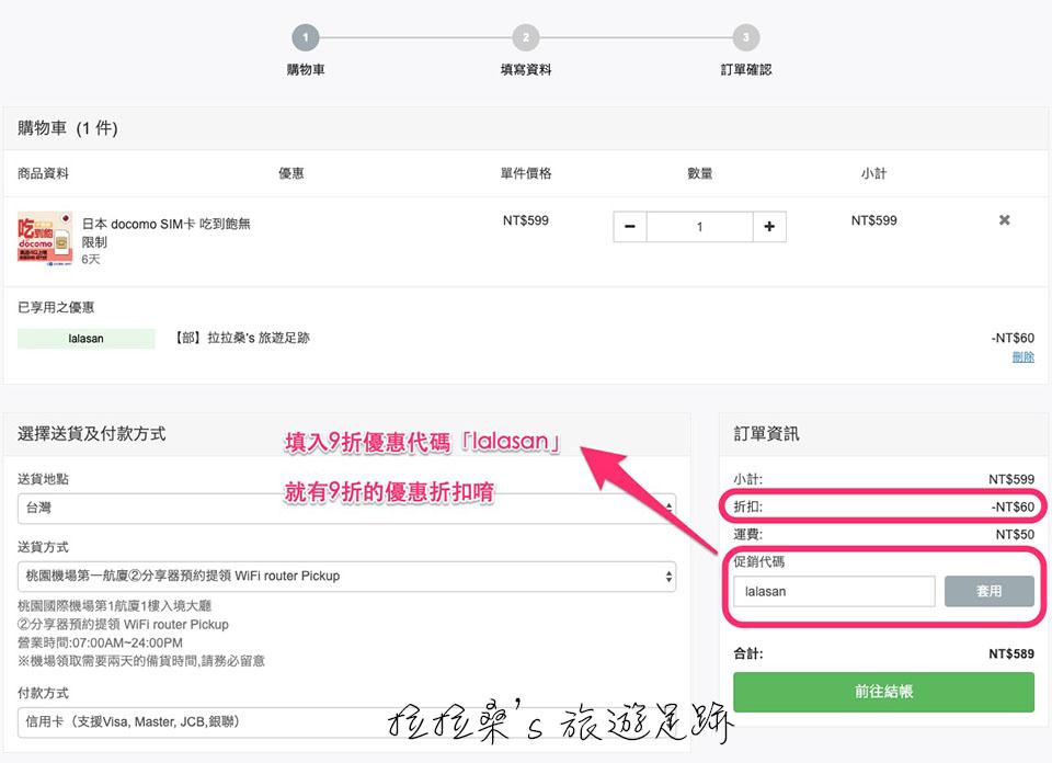 GLOBAL WiFi SIM卡網路預約教學,輸入促銷代碼lalasan