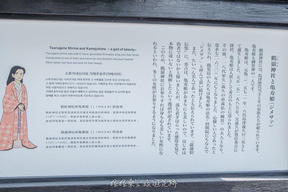 日本鹿兒島鶴嶺神社,有關龜壽姬的簡介