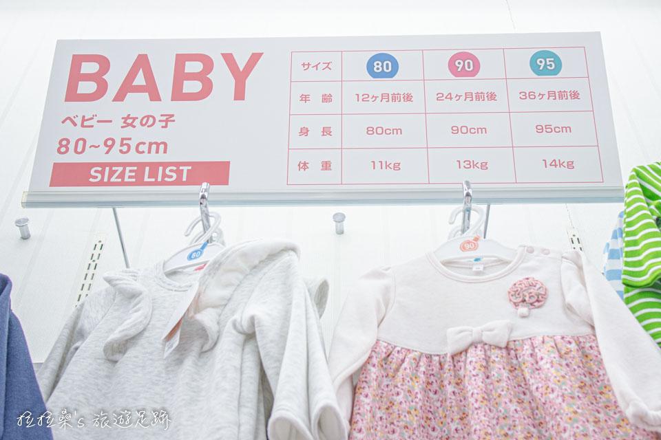 日本童裝天堂西松屋的服飾,都有明確標示出適用的年齡、身高、體重