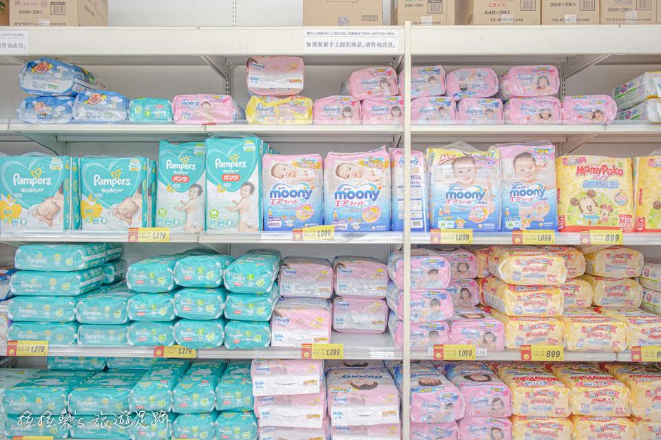 日本西松屋除了有常見的幫寶適、大王外,還有些日本在地的尿布品牌