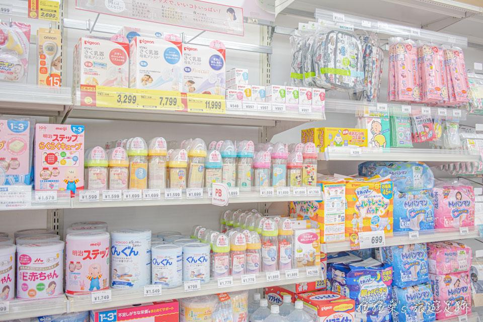 奶瓶、奶粉、奶瓶刷、安撫奶嘴等,在西松屋也都能看到