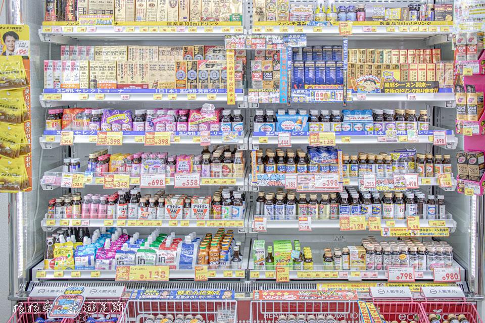 日本九州 Drug Eleven 藥妝店專門賣精力飲料的一區