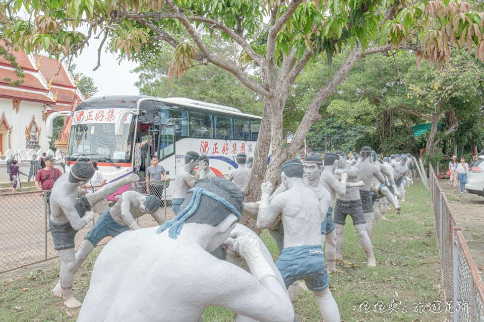 泰國樹中廟旁泰拳公園有不少1比1的泰拳人偶