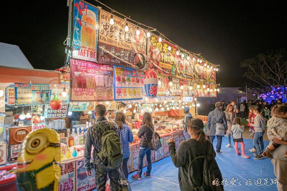 沖繩八社之一的沖宮,新年時的市集雖然不算大,但吃的選擇倒還不少