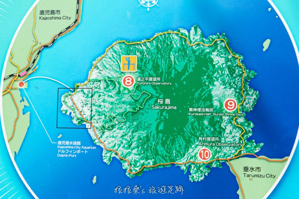 前往櫻島的交通方式,基本上有兩種,一是坐渡輪,二是租車自駕
