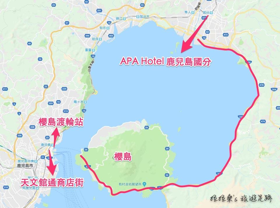APA Hotel 鹿兒島國分與櫻島的交通位置圖