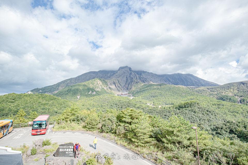 日本鹿兒島櫻島湯之平展望所,近賞櫻島活火山、錦江灣海景