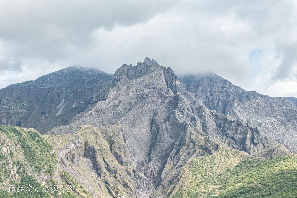 湯之平展望所能清楚地看見櫻島火山北岳