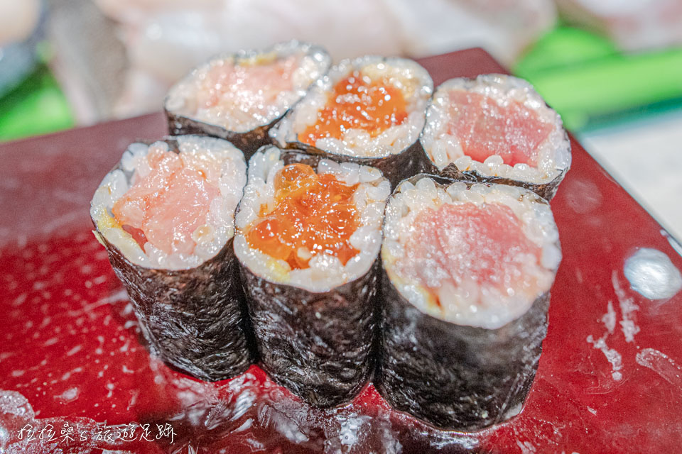 大和壽司套餐中的小鐵火卷,即使不沾醬油,也蠻好吃的