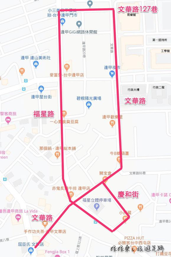 台中逢甲夜市地圖