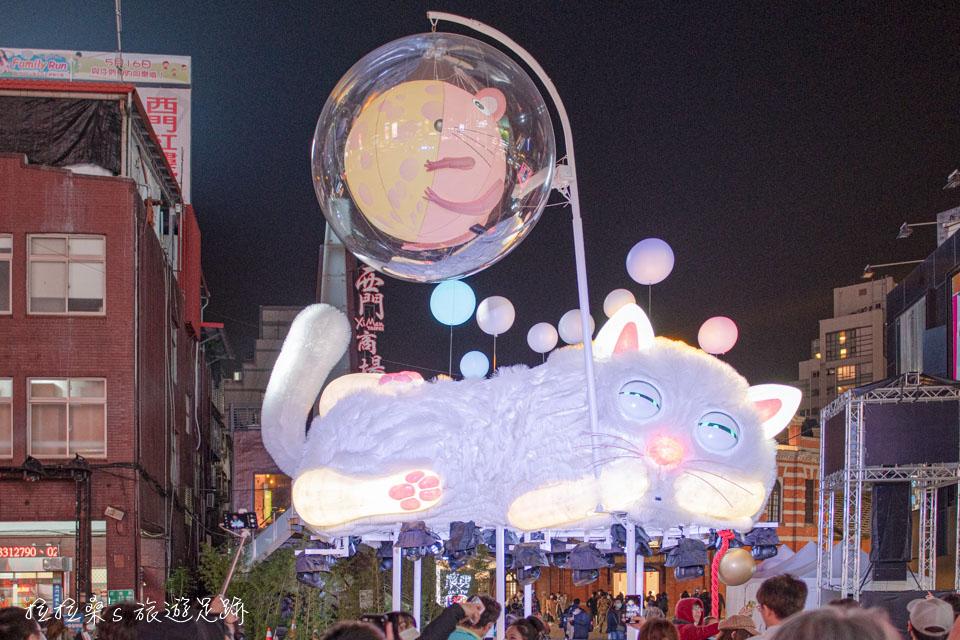 2020台北燈節,逗趣西區鼠年主燈「躲貓貓」