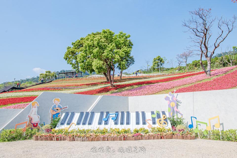 北投社三層崎公園有不少藝術造景可以與花海一起合影