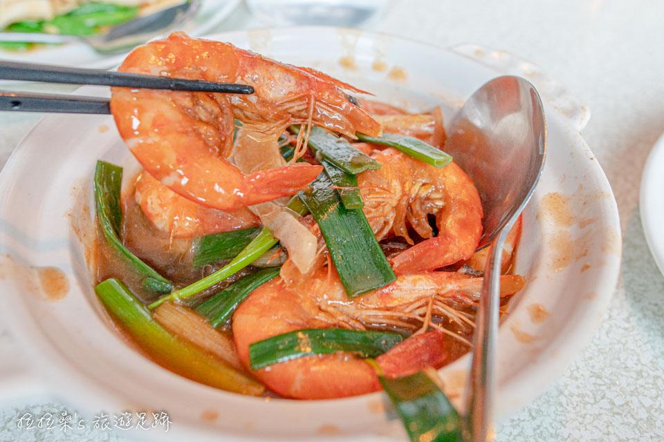宜蘭礁溪庄櫻桃谷的櫻桃谷海味山珍,有炒鮮魷、炒蝦