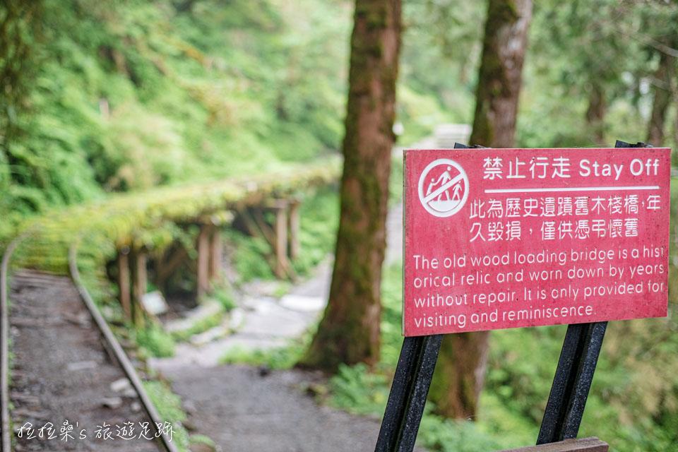 太平山見晴懷古步道裡的架空舊鐵道路段均禁止行走