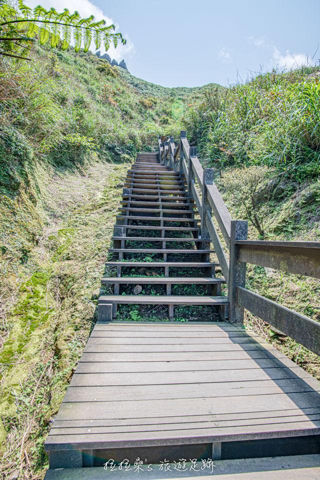 爬茶壺山途中會經過的的木頭階梯,有幾階似乎有點鬆脫,走的時候也是稍微留心一下就好