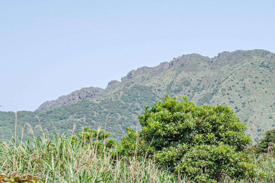 金瓜石地質公園步道也能遠眺茶壺山及附近稜線