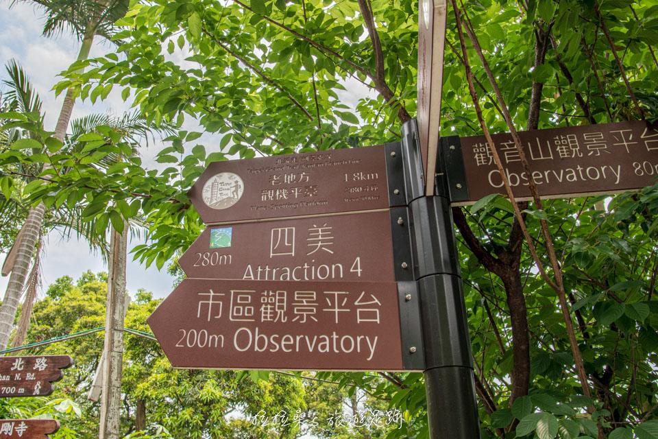 台北劍潭山親山步道一路上都設有清楚的路標