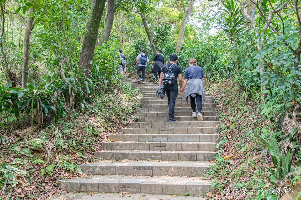 台北劍潭山步道的稜線路段還有樹蔭能遮陽