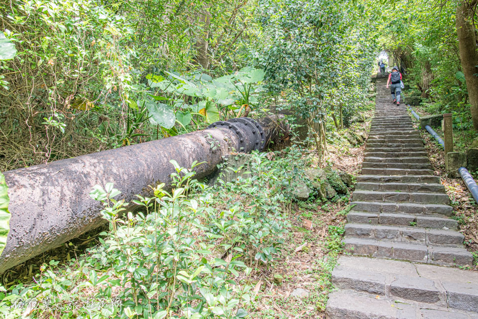 台北天母古道路水管路步道最具特色的百年黑色大水管
