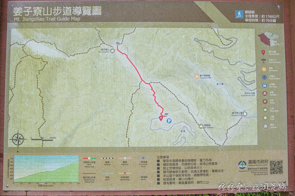 基隆姜子寮山步道總長約1.6公里,共爬升約300公尺