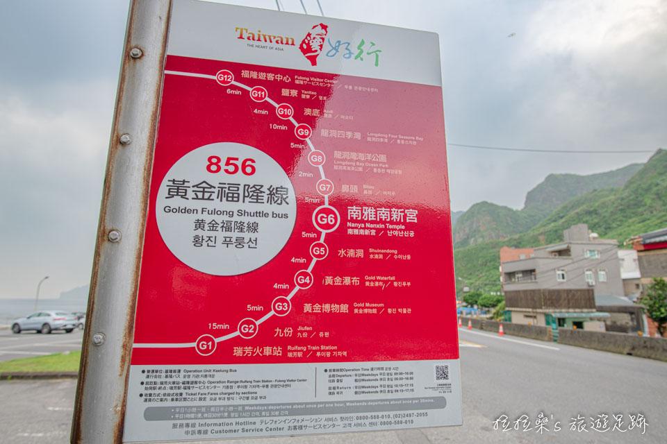 搭台灣好行856號到南雅南新宮站,就能抵達新北瑞芳南子吝步道