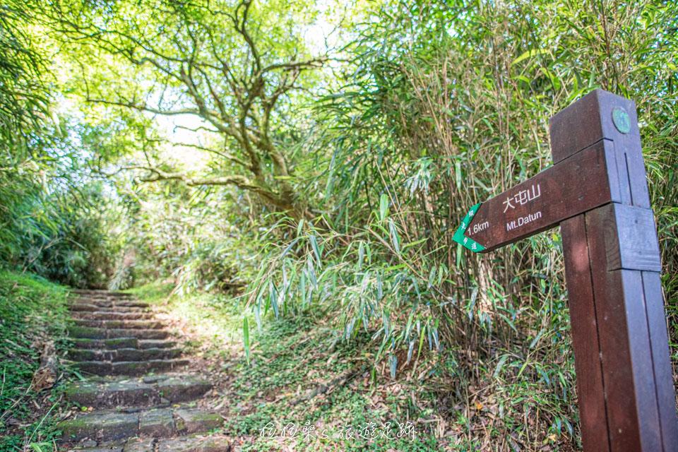 大屯山主峰登山步道長約1.6公里