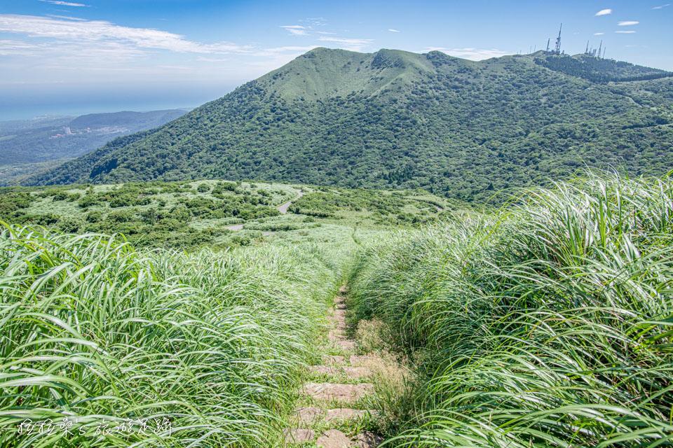 大屯山主峰登山步道有寬闊的視野,能遠眺小觀音山