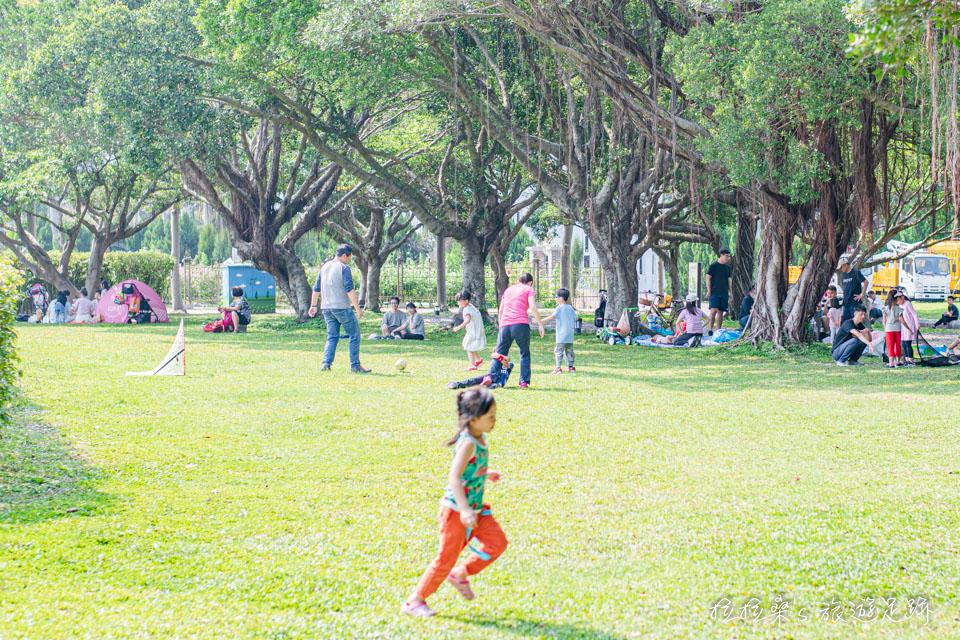 台北花博公園新生園區的翠綠草皮就是孩子們最棒的運動場