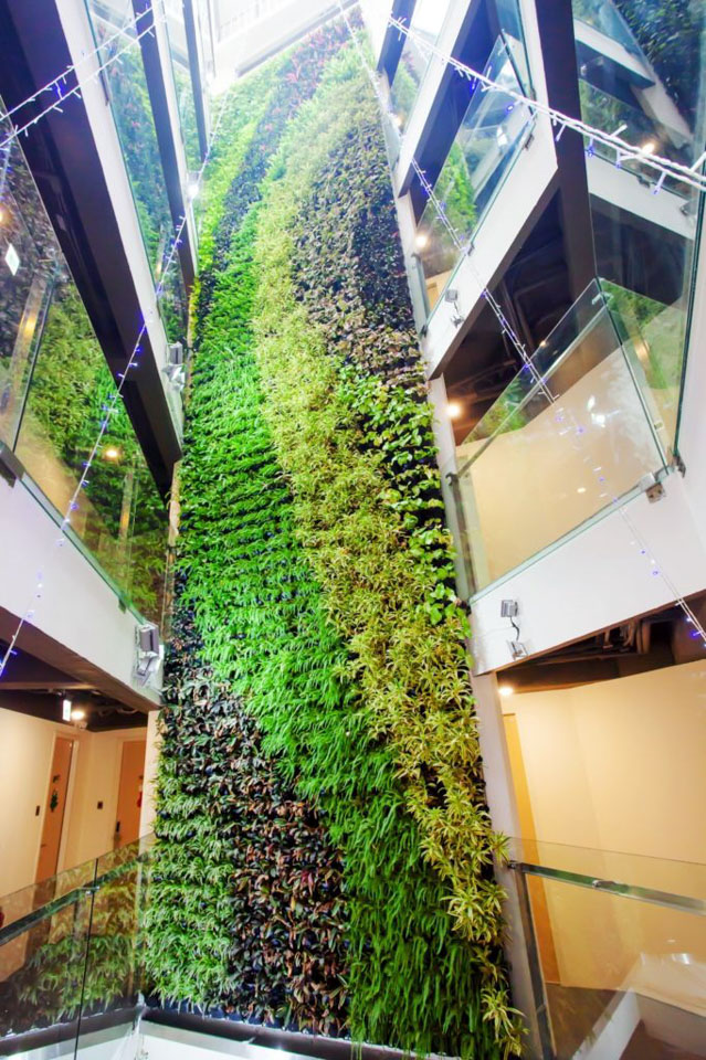 台中葉綠宿旅館的植生牆也是亮點之一